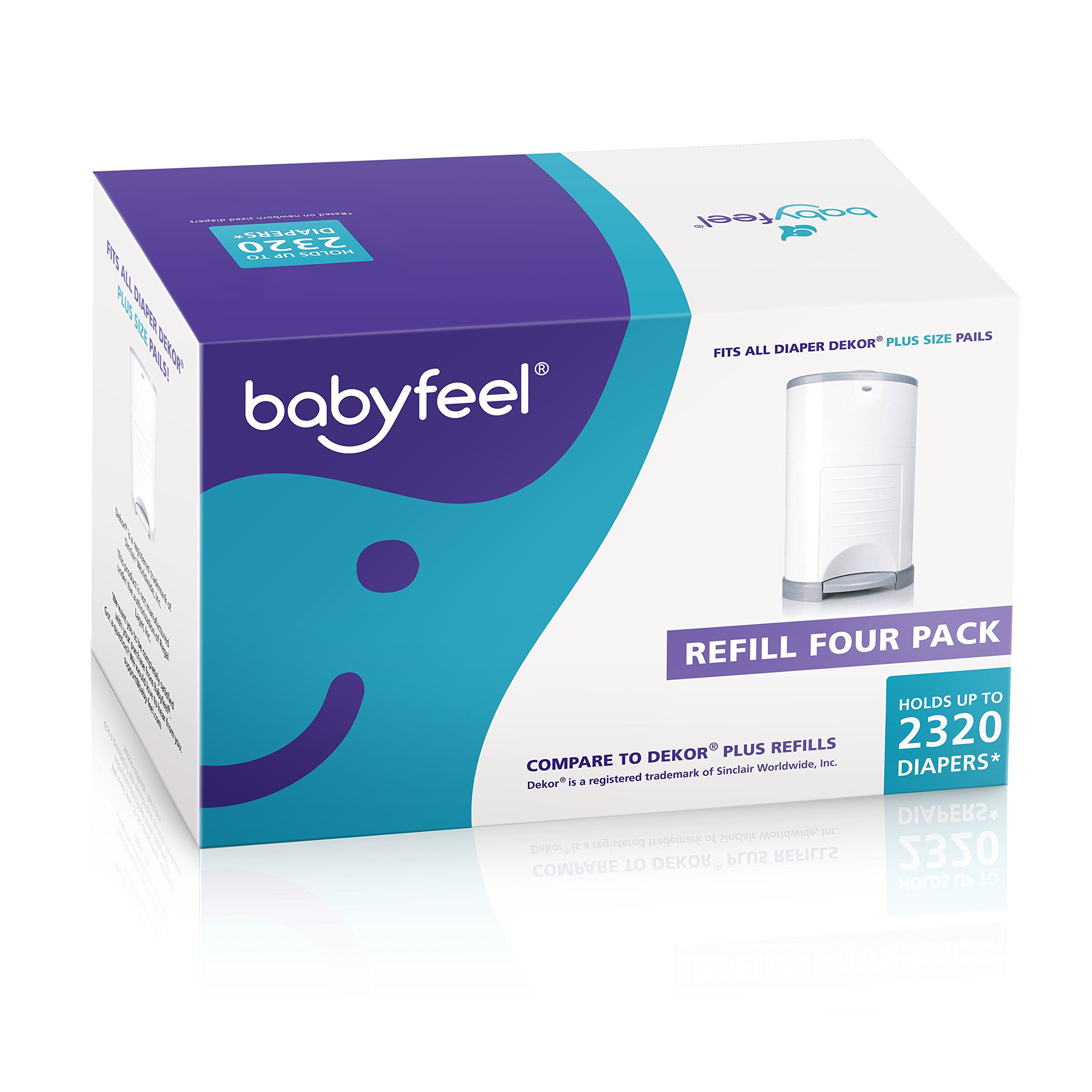 Babyfeel - 4 Count Refill - Fits Dekor Plus Diaper Pails - The Thickest Diaper Dekor Plus Refills - New Powder Scent - Powerful Odor Elimination - Holds up to 2320 Diapers - Strong and Durable