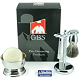 5 Piece Men's Shaving Set - De Razor, Badger Brush, Chrome BowL, GBS Soap and Stand -Comes in Gift Box