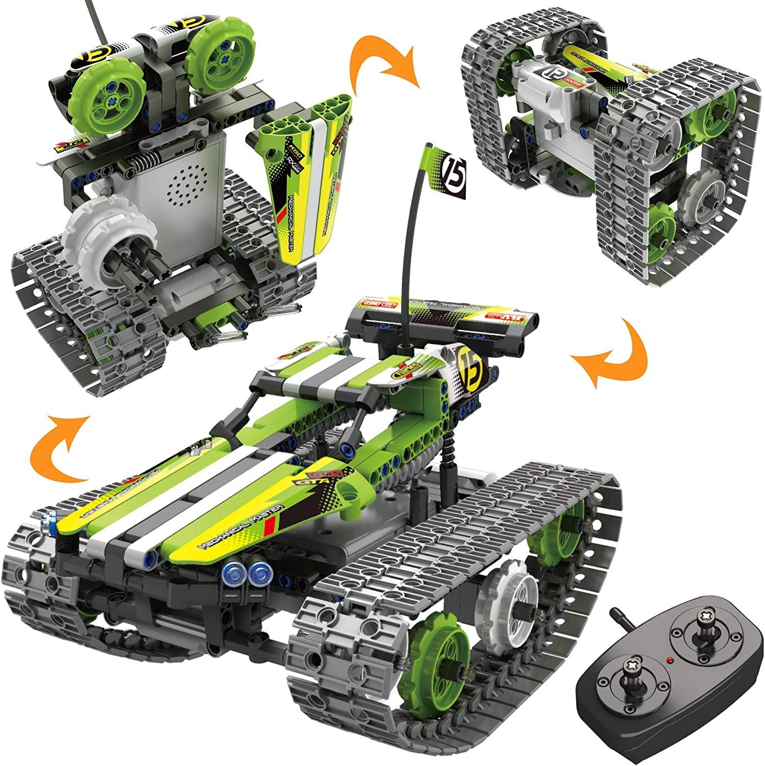 Amazon Com Stem Toys Remote Control Building Sets For Boys 8 12 Years Old 3 In 1 Rc Engineering Kit Builds Tracked Car Robot Tank 2 4ghz Rechargeable Rc Racer Toy Set Best Science Learning Kit Gift For Kids