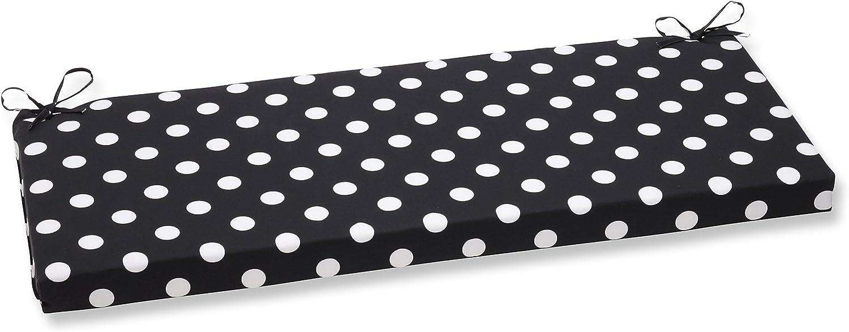 Pillow Perfect Polka Dot Bench Cushion, Black