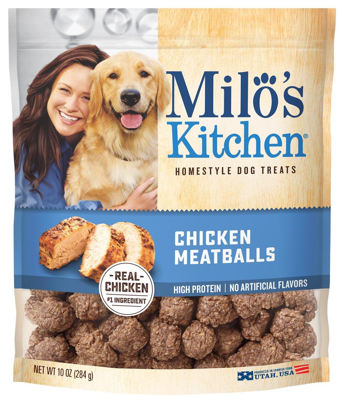 Amazon.com : Milo\'s Kitchen Chicken Meatballs Dog Treats, 10 oz ...