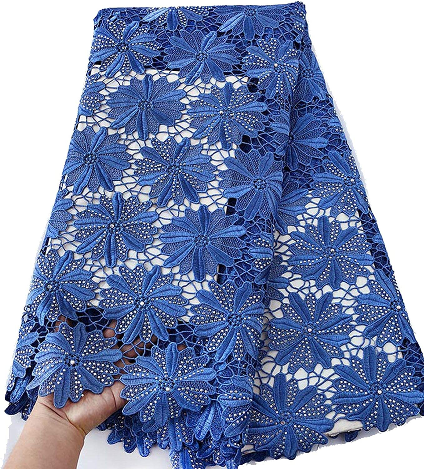 Big Heavy Pure Onion African Guipure Lace Very Neat Embroidery Nigerian Cord Lace Fabric with Strong Stones 5 Yards,Onion