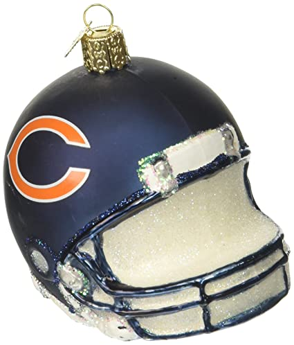old world christmas ornaments nfl chicago bears helmet glass blown ornaments for christmas tree - Chicago Christmas Ornaments