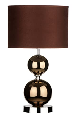 Premier housewares copper ceramic ball table lamp with fabric shade brown
