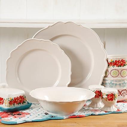 The Pioneer Woman Vintage Ruffle Linen 20-Piece Dinnerware Set (Linen) & Amazon.com | The Pioneer Woman Vintage Ruffle Linen 20-Piece ...