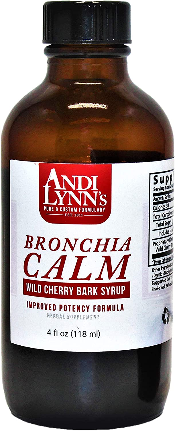 Andi Lynn's Wild Cherry Bark Syrup- Bronchial Wellness Herbal Syrup - Soothing Support for Throat and Respiratory Health, Made in USA, Handcrafted, 4 Ounces (1)