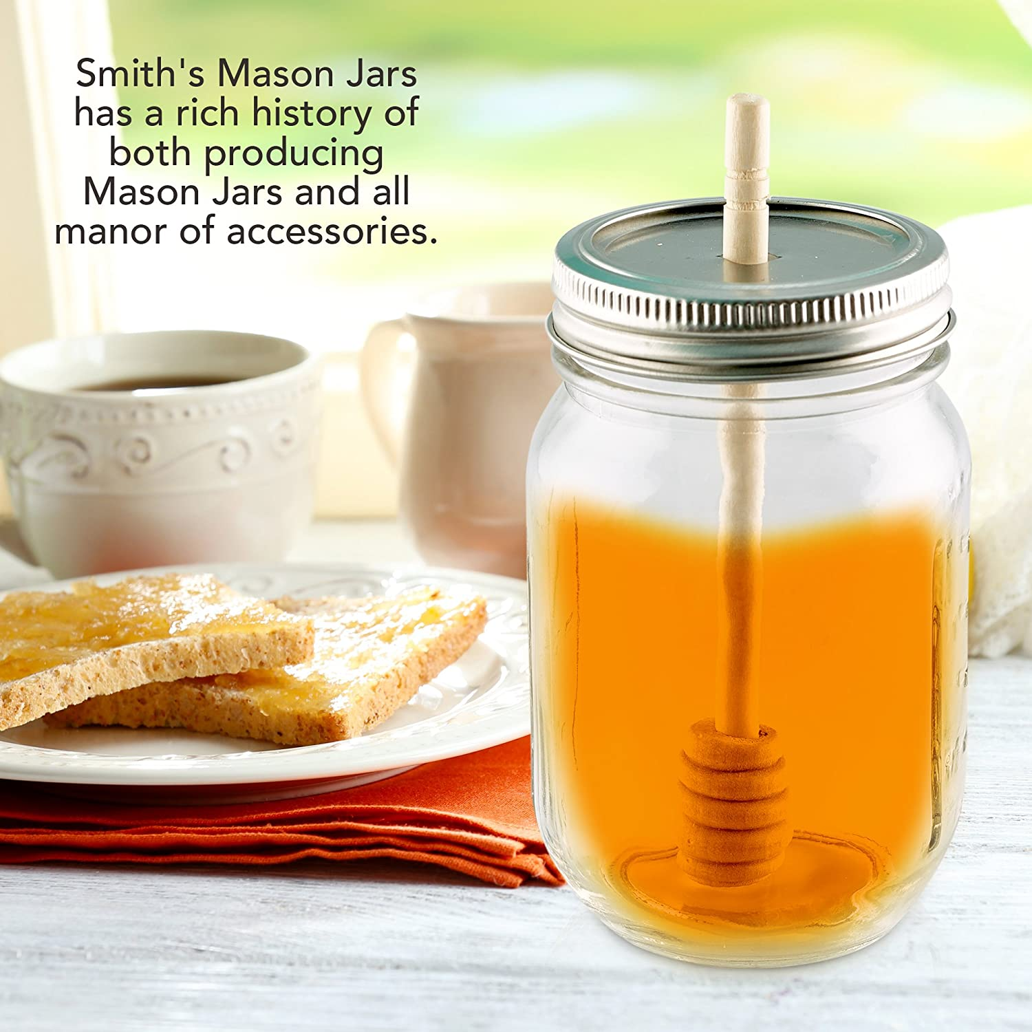 2 x Smith's Kilner/Mason Jars Bamboo Honey Dipper with Lid (Jar not Included) Smiths Mason Jars
