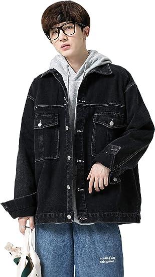 FHLHY デニム ジャケット メンズ ジージャン アウター ヒップホップ Gジャン 人気 長袖 ファッション 大きいサイズ