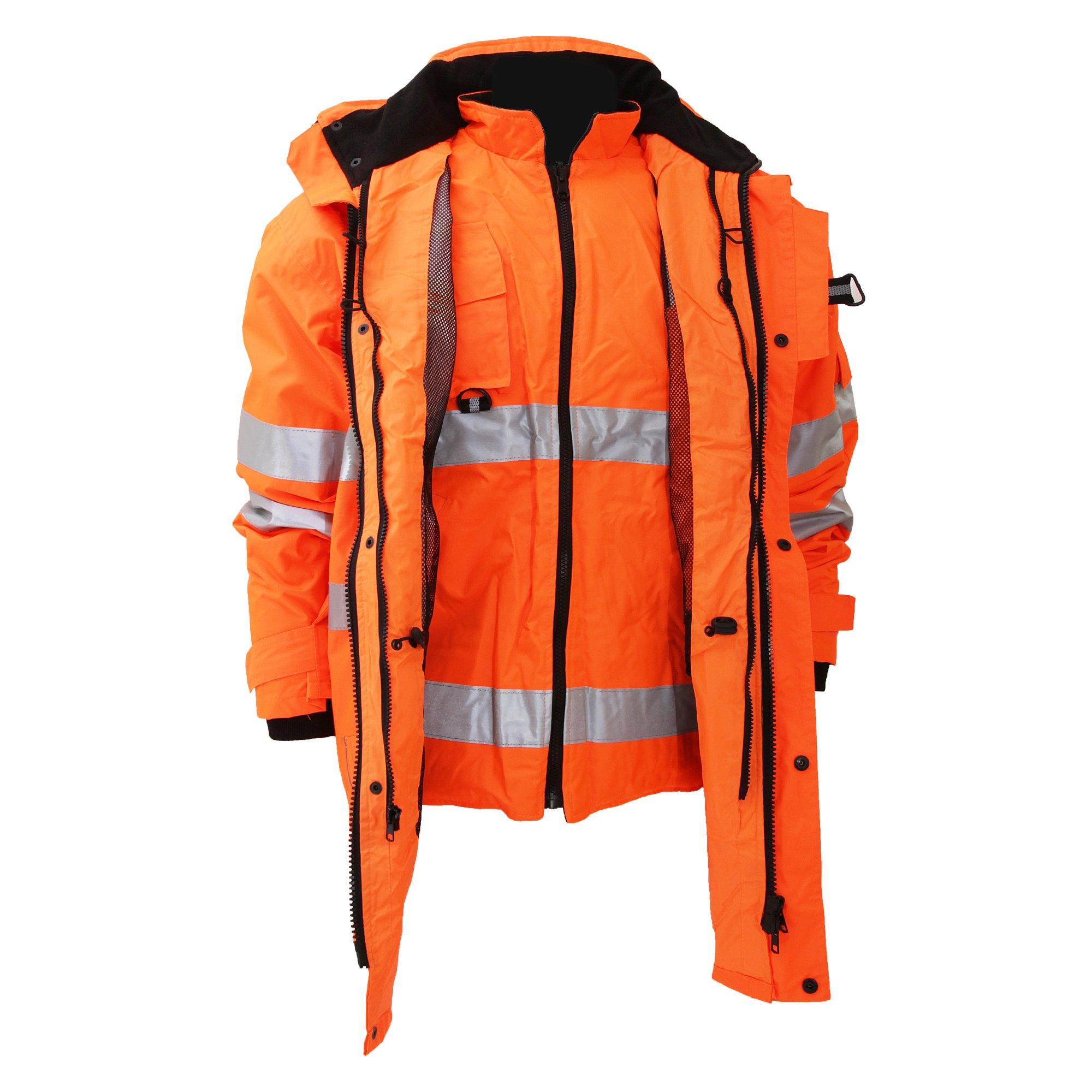 Yoko Hi Vis Multi-Function Breathable & Waterproof 7-In-1 Jacket (M) (Hi Vis Orange)