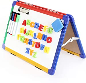 Ibex Easel for Kids Home Schooling, Dry Erase Desktop Whiteboard, Double Sided, Foldable with Paper Clip, 4 Color Markers, Eraser, Magnetic Letters - 12 x 16 Inches