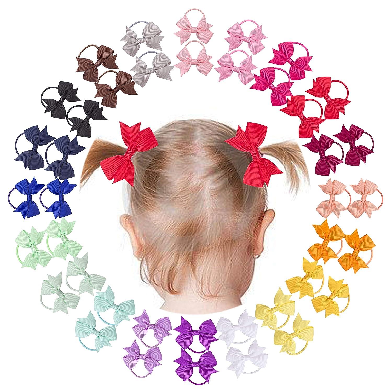 "Vinobowtique 40Piece 2"" Tiny Mini Pinwheel Ponytial Elastic Loop Hair Bows For Baby Girls Toddlers"
