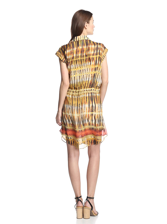 Da-Nang Womens Yellow Multi Demeter Stripe Shirt Dress