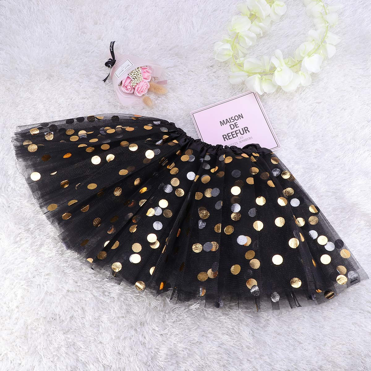 Black Amosfun Layered Tutu Skirt Girls Dotted Sequin Dance Ballet Dress-up Tulle Skirt for Party Banquet Holiday