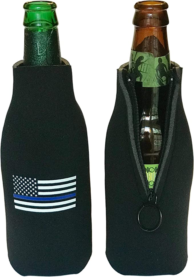 Bottle Opener Dice Dice Bag and Koozies for Bottles Thin Blue Line Sheriff and Police Gifts Set with Poker Cards