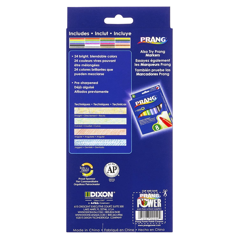 3.3 Millimeter Cores Dixon Ticonderoga 22120 Prang Thick Core Colored Pencils Assorted Colors 7 Inch Length 12 Count