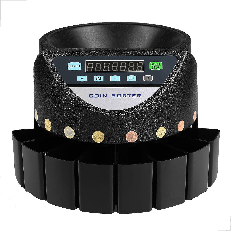 Moracle Contador de monedas automático Clasificador de Monedas para todas las monedas Euro y Cent con Pantalla LED Contador de Monedas Euro Cash Currency Bank Commercial