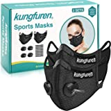 kungfuren 2 Sets Sports Cycling Masks with Activated Carbon Filter, Cycling Mask with 4 Breathing Valve and 8 Soft Foam…