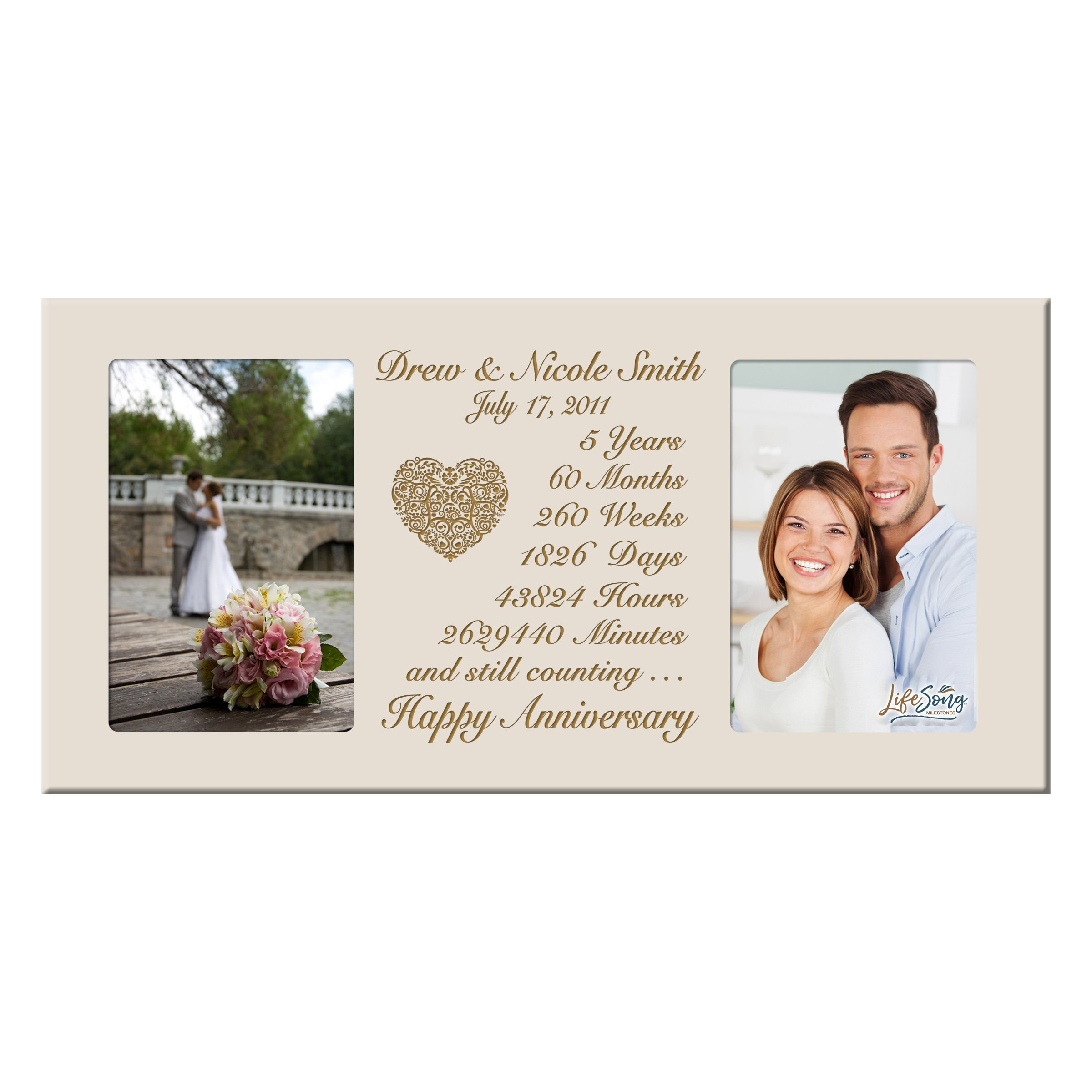 LifeSong Milestones Personalized Five Year her him Couple Custom Engraved Wedding Celebration for Husband Wife Girlfriend Boyfriend Photo Frame Holds Two 4x6 Photos (Ivory)