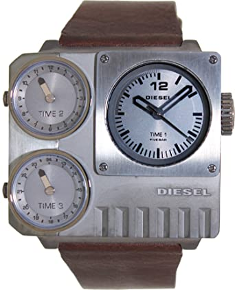 Diesel #DZ7249 Mens SBA Leather Strap Triple Time Zone Oversize Square Watch