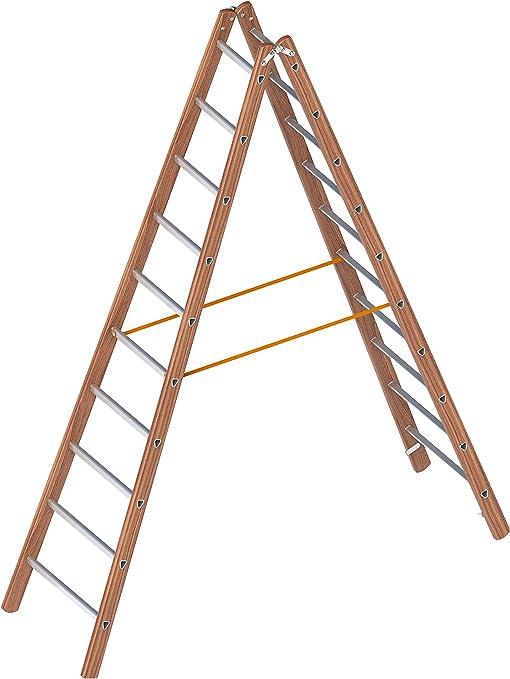 Layher 1028010 ligero de pie escalera, madera de aluminio escalera de tijera (2 x 10 peldaños, ambos lados, plegable, longitud 2,95 m: Amazon.es: Bricolaje y herramientas