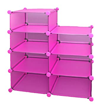 Ts Ideen Büro Flur Kinder Regal Schrank Steckregal CD Regal Bücherregal In  Pink Rosa Transparent