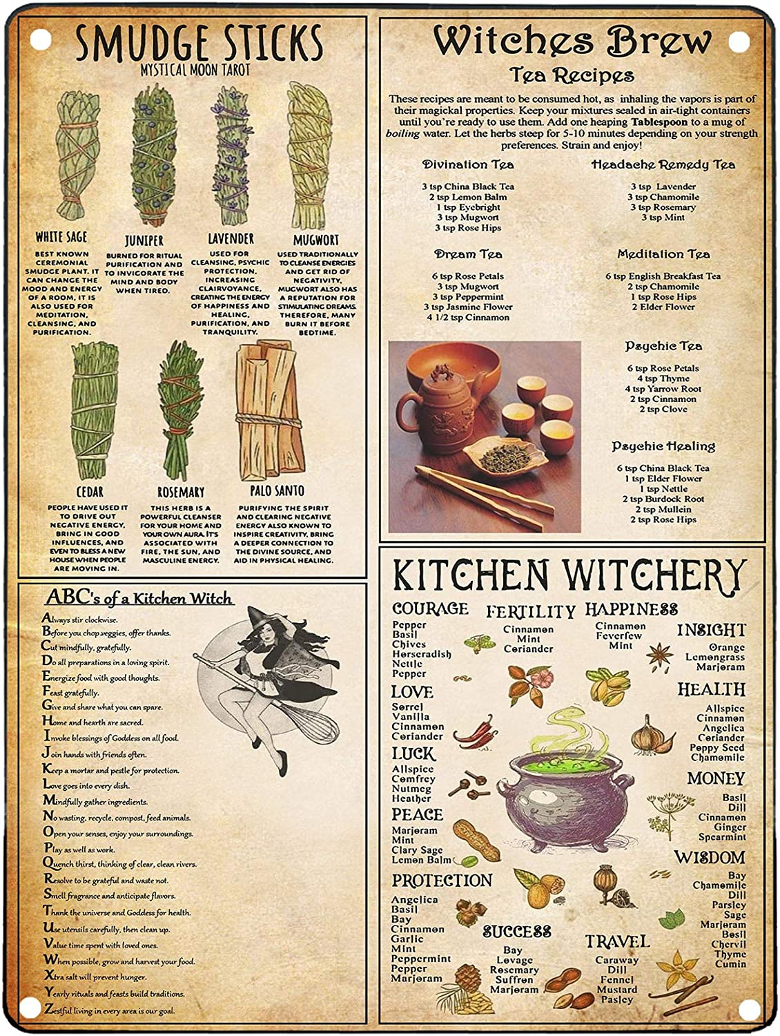 Personalized Sign Metal Kitchen Witchery Metal Sign, Witches Magic Knowledge,Kitchen Witch Wall Decor,Kitchen Witch Metal Sign,Magic Lover Gift,Wicca Home Decoration At Home Bar Decor