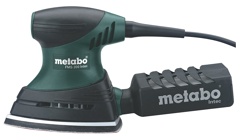 Metabo 600065500 600065500-Lijadora Triangular para Madera FMS Intec (Base Grande) 200W con maletín, 200 W, 230 V, Negro