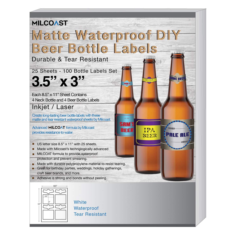 Milcoast Matte Waterproof Tear Resistant Blank White Adhesive DIY Beer Bottle Labels - For Laser/Inkjet Printers - 100 Label Sets (25 Sheets)