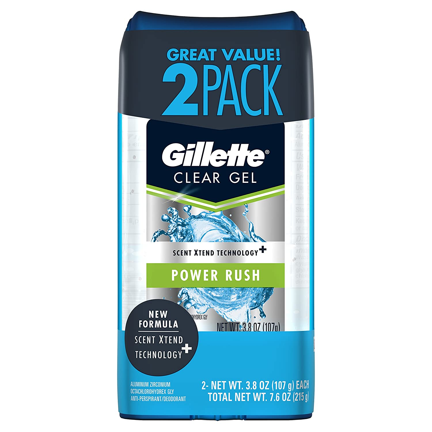Gillette Sport High Performance Antiperspirant / Deodorant Power Rush Clear Gel, 3.8 Ounce (Twin Pack)Packaging may Vary