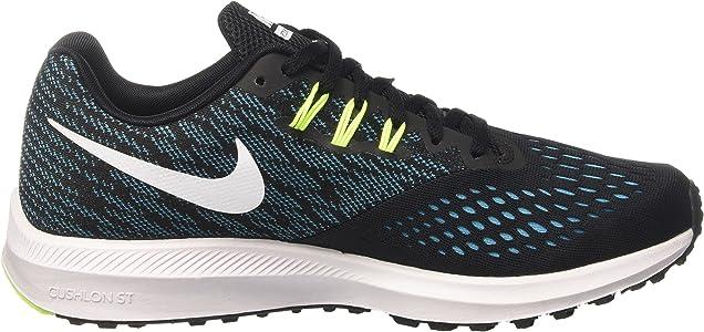 3be6b15fa8c7 Amazon.com  Nike Zoom Winflo 4 Black White Chlorine Blue Volt Men s ...