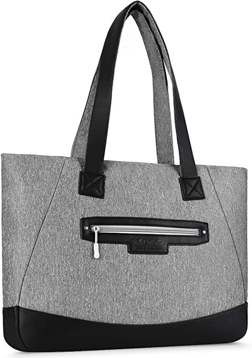 MOSISO Laptop Tote Bag (Up to 17.3 Inch), Water Resistant PU & Polyester Women Work Travel Shopping Carrying Shoulder Handbag with Compartment Compatible Notebook, MacBook & Ultrabook, Gray
