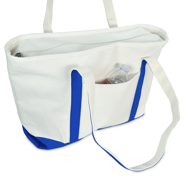 Navy Blue Cotton Canvas Shopping Tote Bag in Purple DALIX 23 Premium 24 oz Black