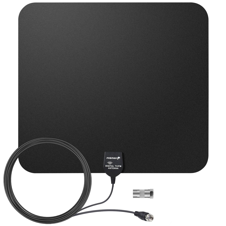 Fosmon Antena de TV [HDTV Antenna | antena interior DVB-T] 35 Millas / 56km rango de recepción con 16.4ft / 5m Coaxial IEC Cable y F Male conector (Negro): ...