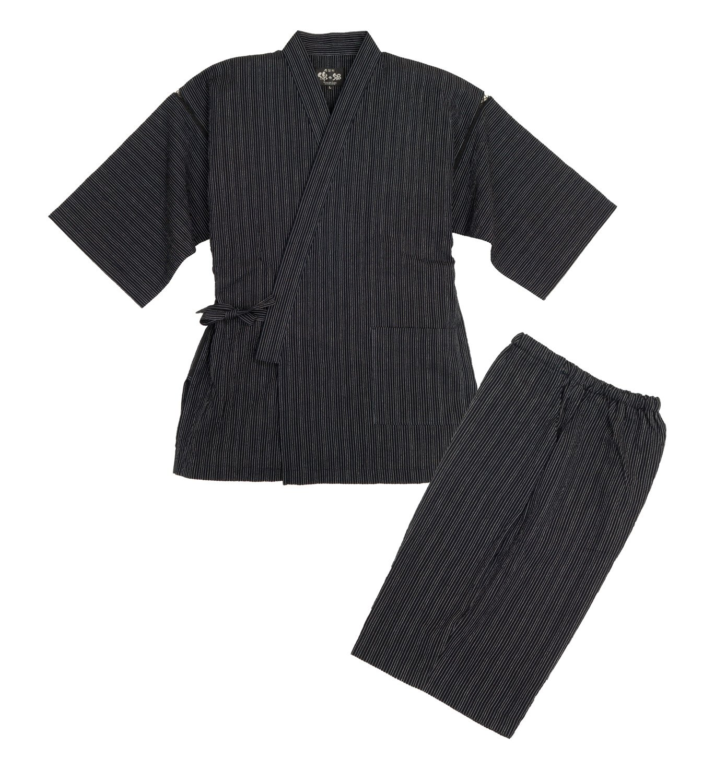 7c24430523f1f 久留米ちぢみ織甚平 全行程 日本製 サイズ S M L LL
