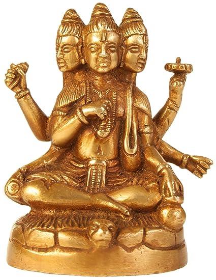 cbfa32a77f02b Amazon.com: Statue Brahma Vishnu Shiva Sculpture Art Hindu; Brass; 3 ...