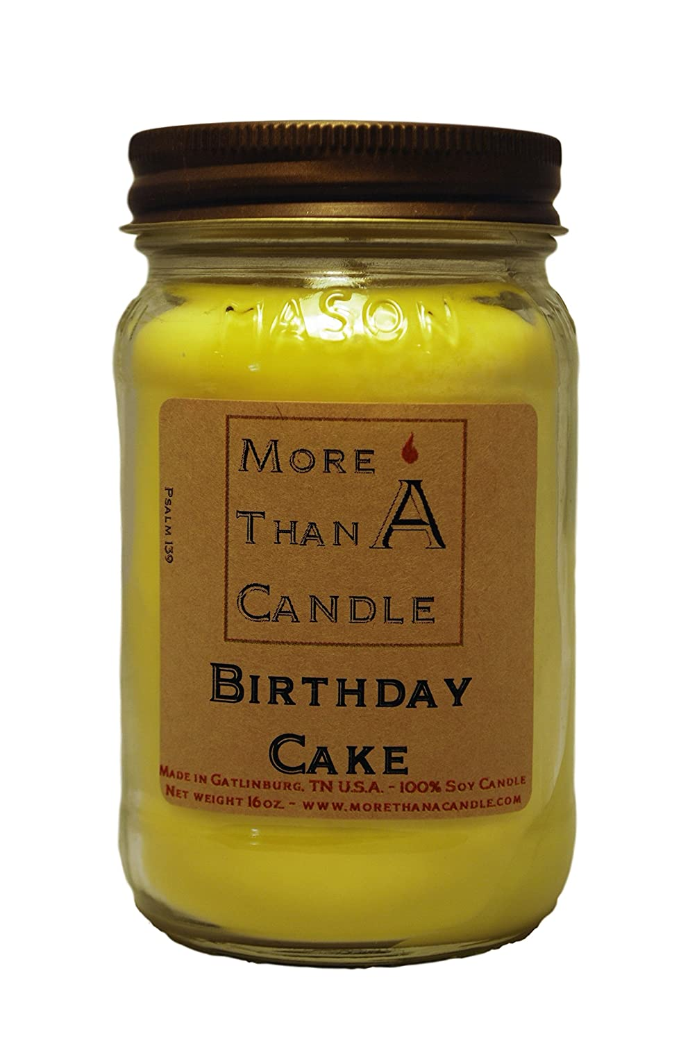 More Than A Candle 16 oz Mason Jar Soy Candle - Made in the USA Birthday Cake