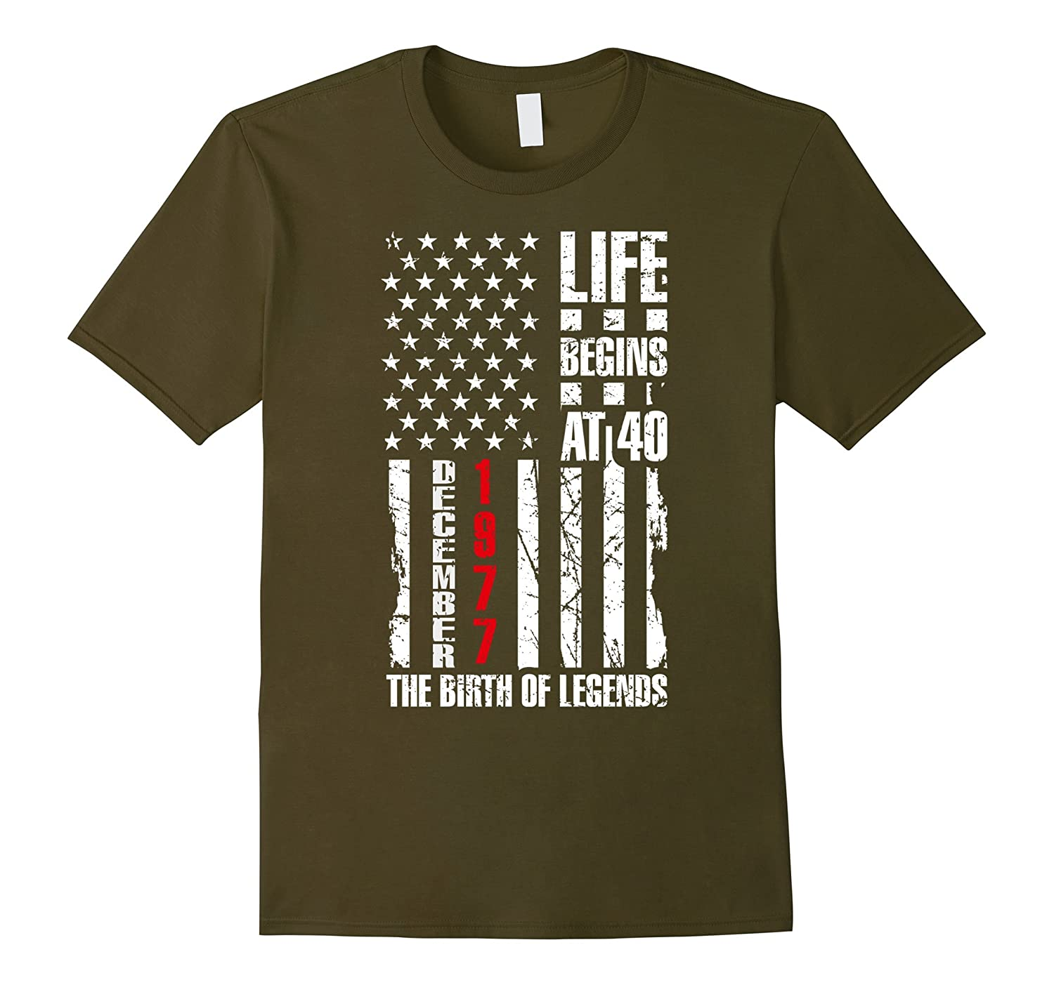 40 Years Old Born in 1977 December Gift American Flag Shirt-ANZ