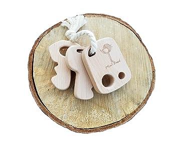 Amazon.com: Llavero de madera bebé Mordedor rattle- sin ...