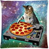 SIXSTARS Food Funny Creative Hipster DJ Cat Pizza Cat Galaxy Pizza Cat Design Zippered pillowcase One Side