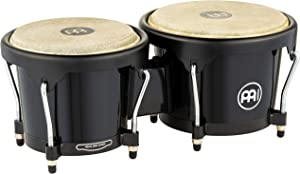 Meinl Bongos with Durable Synthetic All-weather Shells — NOT MADE IN CHINA — Natural Buffalo Skin Heads, 2-YEAR WARRANTY (HB50BK), Black