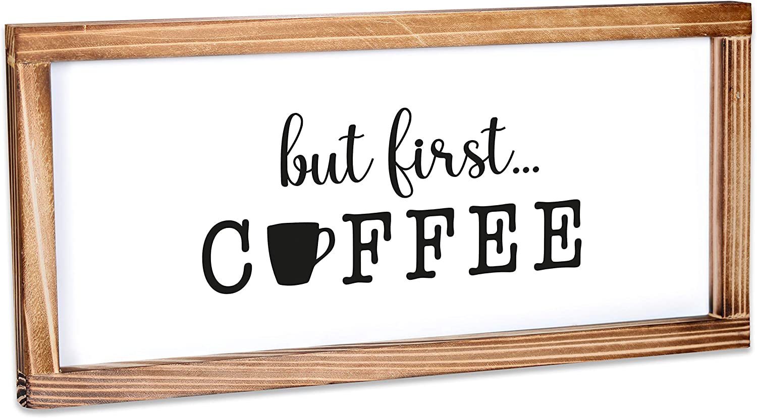 MAINEVENT But First Coffee Sign - Funny Kitchen Sign - Farmhouse Kitchen Decor, Kitchen Wall Decor, Rustic Home Decor, Country Kitchen Decor with Solid Wood Frame 8x17 Inch