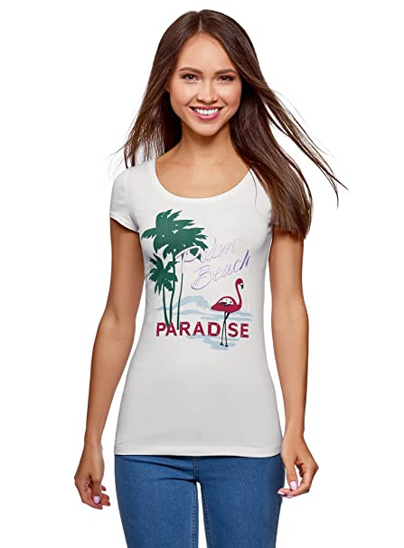 oodji Ultra Mujer Camiseta con Escote en Forma de Gota en La Espalda, Blanco,