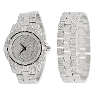 Amazon Com Mens Iced Out Simulated Diamond White Gold Tone Silver