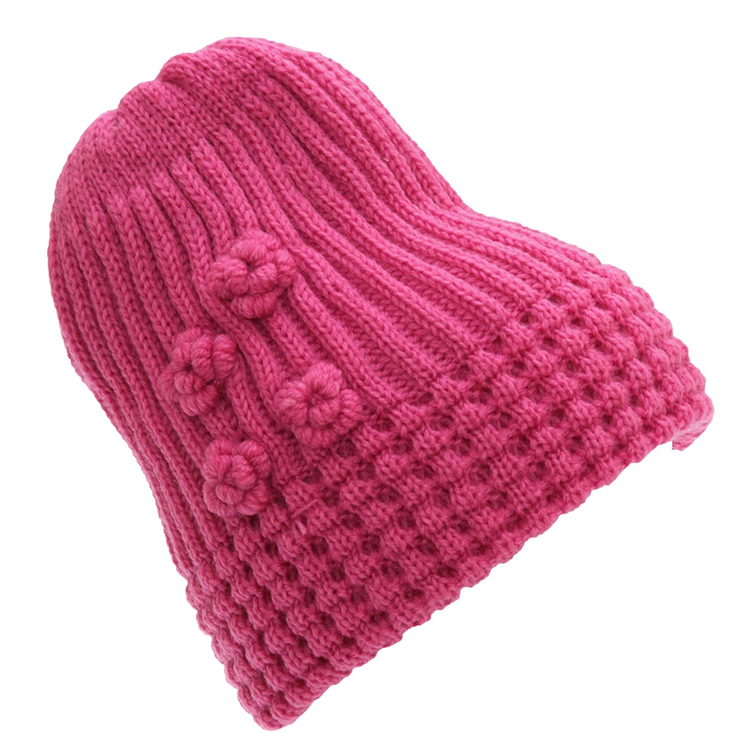 FLOSO Ladies/Womens Winter Ribbed Beanie Hat With Floral Pattern