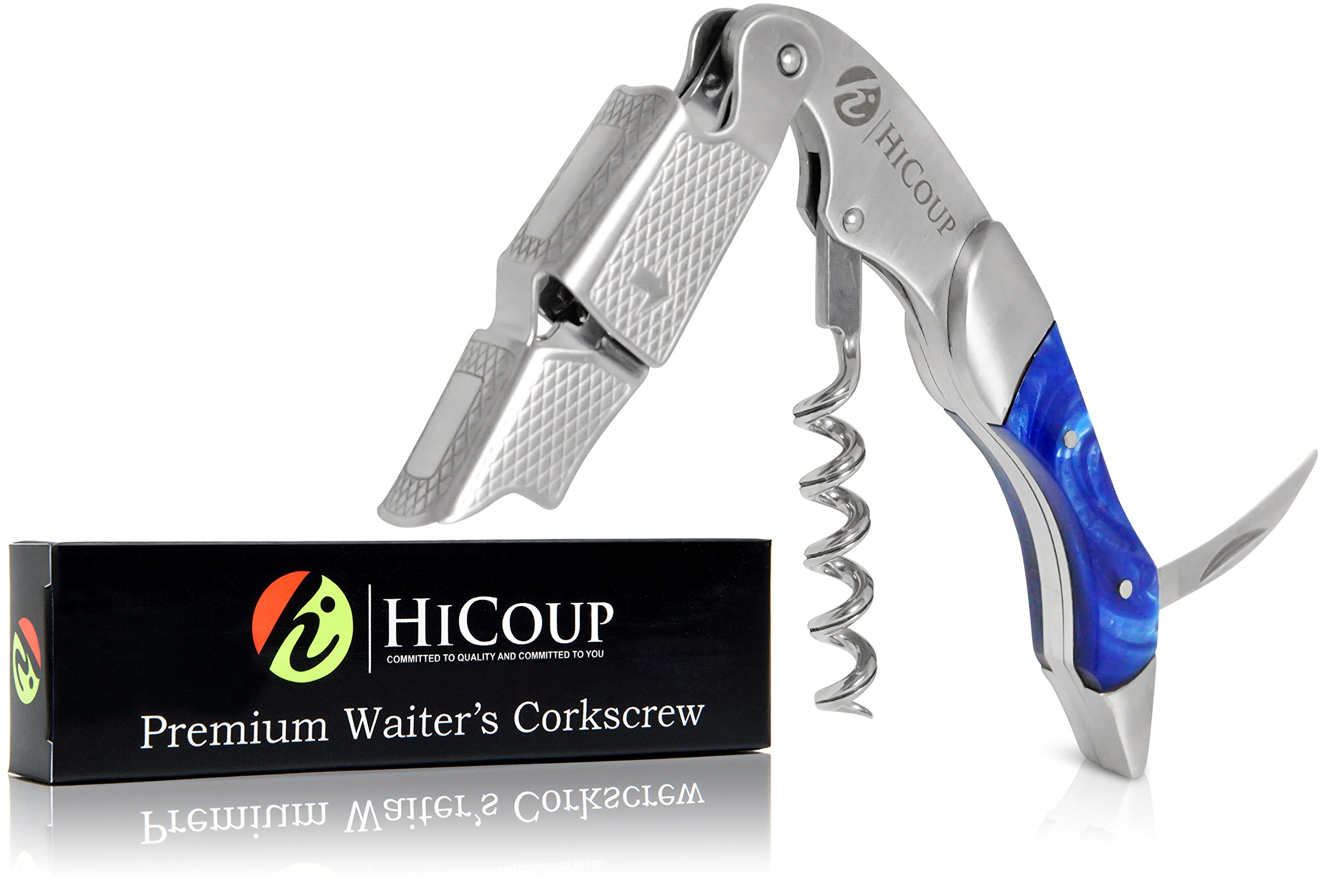 Waiters Corkscrew by HiCoup - Professional Stainless Steel with Sapphire Resin Inlay All-in-one Corkscrew, Bottle Opener and Foil Cutter, the Favoured Wine Opener of Sommeliers, Waiters and Bartenders