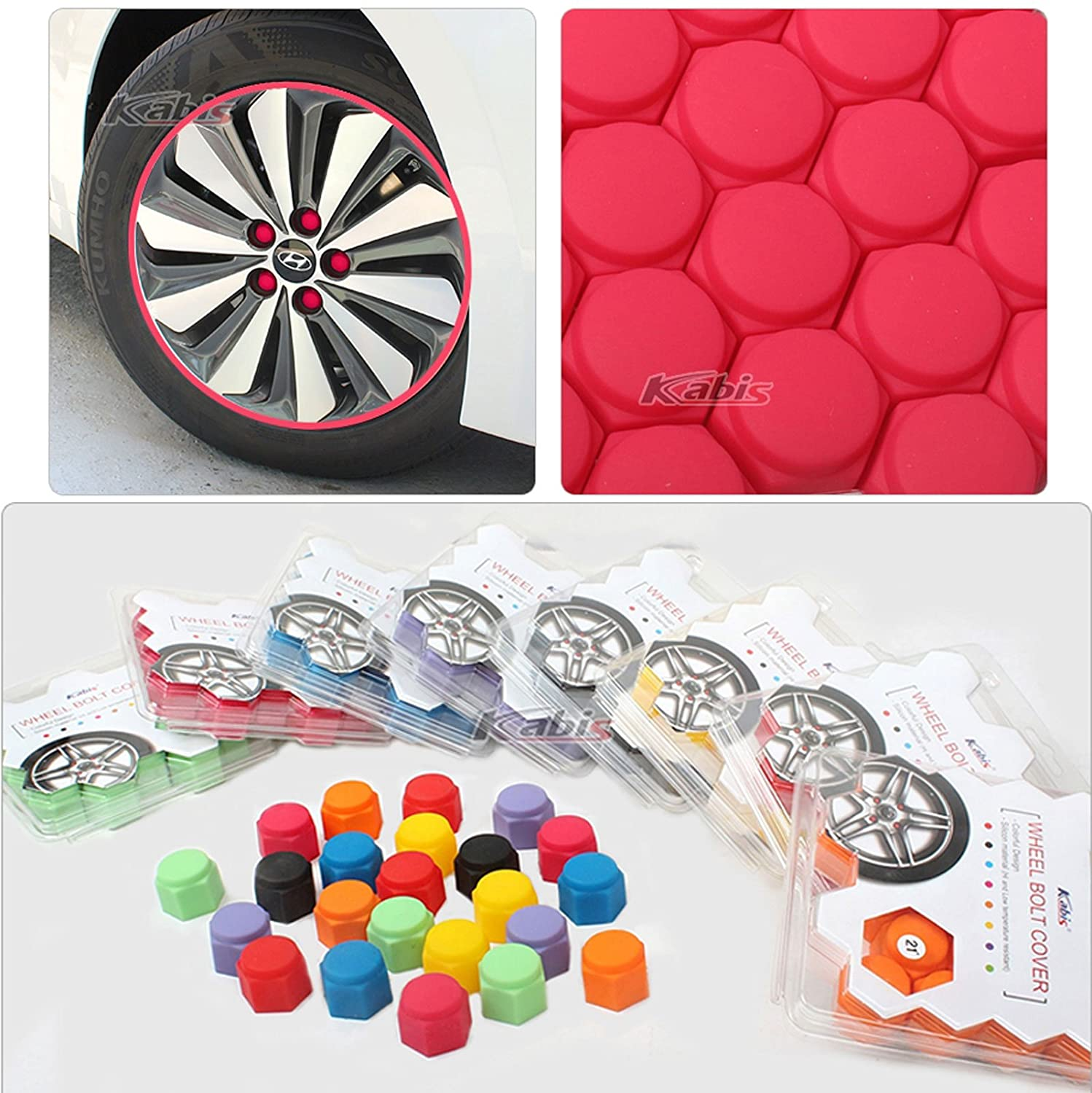 Set x20 Silicon Car Tuning Vehicle Wheel Nut Cover Bolt Cap Cover Set 8Color 19mm, Red