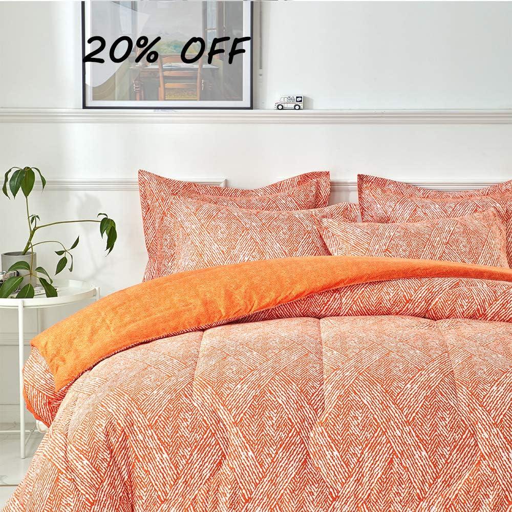 Joyreap 3pcs Comforter Set, Orange Stylish Reversible Design, Soft Microfiber Lightweight Thin Comforter for All Season (King, 102x90 inches)