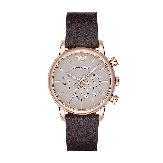 Emporio Armani Reloj Cronógrafo para Hombre de Cuarzo con Correa en Cuero AR2074