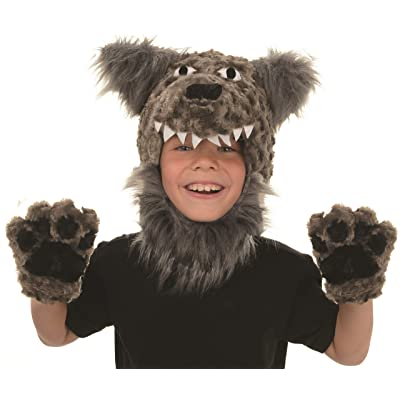 UNDERWRAPS Kid's Children's Animal Pack Dress Up Kit - Wolf Childrens Costume, Gray, One Size: Clothing
