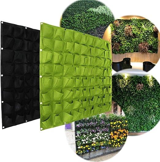 Zerone Maceta de jardín vertical, de fieltro anti-ultravioletto, se sostiene, protección solar, calor Appesi alle Paredes 72 bolsillos, Verde: Amazon.es: Jardín